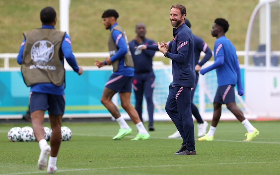 Gareth Southgate leads a training session at St George's Park - GETTY IMAGES