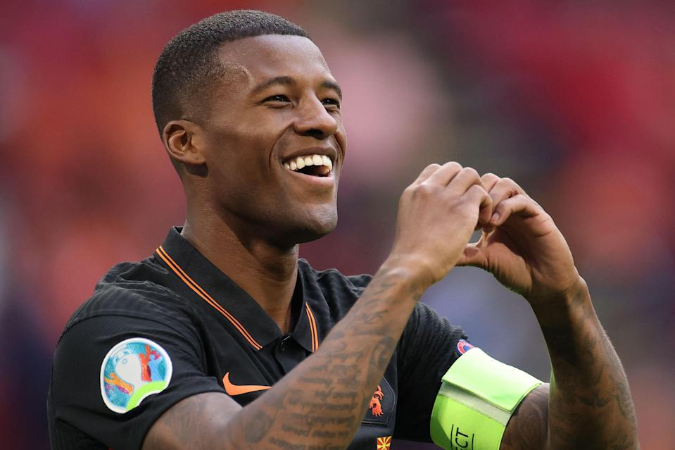 Georginio Wijnaldum will wear a OneLove captain's armband in Budapest on Sunday (POOL/AFP via Getty Images)