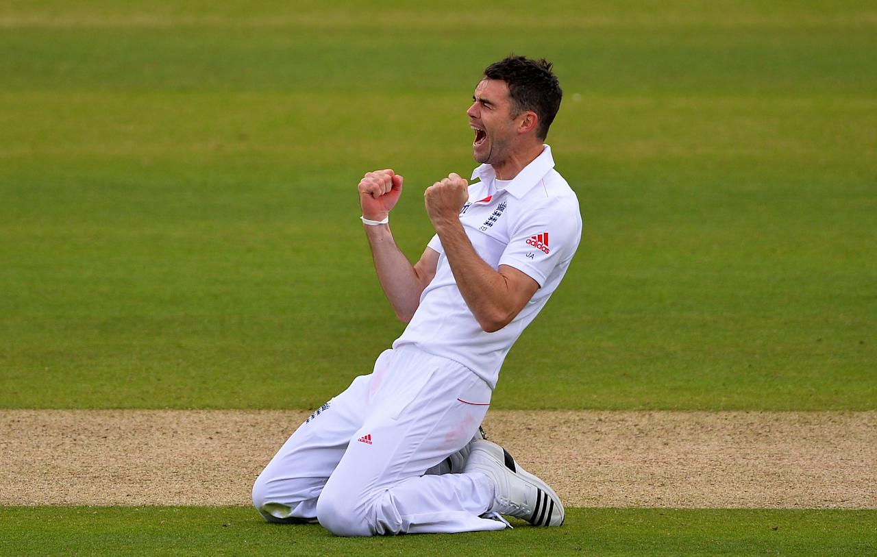 LONDON, ENGLAND - MAY 17:  Jimmy Anderson of England celebrates after trapping Ross Taylor of New Zealand lbw during day two of 1st Investec Test match between England and New Zealand at Lord's Cricket Ground on May 17, 2013 in London, England.  (Photo by Mike Hewitt/Getty Images)