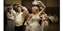 <p>There's nothing melancholic about Justine's strapless chiffon wedding dress, which Kirsten Dunst shows off along with her dance moves in the wedding in the film <em>Melancholia. </em></p>