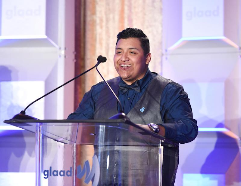 BEVERLY HILLS, CA - APRIL 11: Gio Bravo speaks at Rising Stars at the GLAAD Media Awards Los Angeles at The Beverly Hilton Hotel on April 11, 2018 in Beverly Hills, California. (Photo by Vivien Killilea/Getty Images for GLAAD)