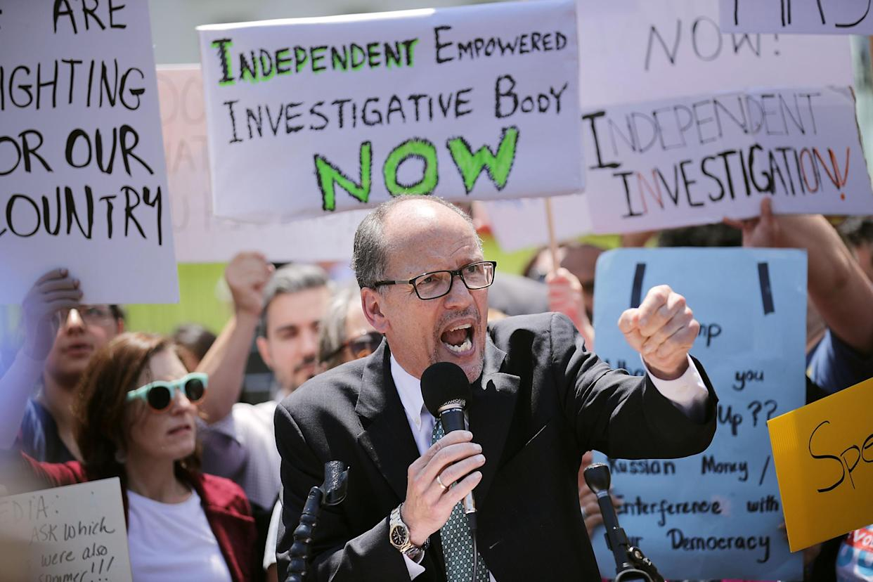 """<span class=""""s1"""">Tom Perez speaks at a May rally against President Trump's firing of FBI Director James Comey. (Photo: Chip Somodevilla/Getty Images)</span>"""