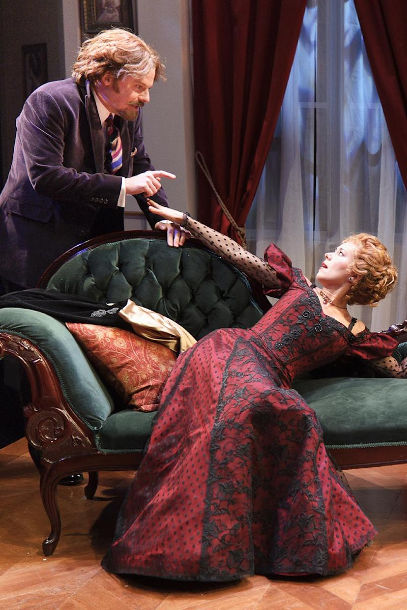 "In this publicity photo released by The Pearl Theatre Company, Bradford Cover, left, and Karron Graves, are shown in a scene from George Bernard Shaw's ""The Philanderer,"" currently performing off-Broadway at New York City Center Stage II.  (AP Photo/Pearl Theatre Company; Jacob J. Goldberg)"