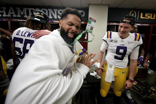 Odell Beckham Jr. lived it up – perhaps too much – in his alma mater's postgame locker room earlier this week after LSU defeated Clemson, 42-25, to win the national championship. (Photo by Chris Graythen/Getty Images)