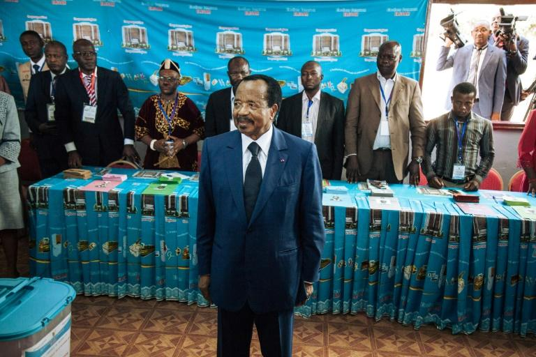 """Cameroon's President Paul Biya, pictured in 2018, reiterated his offer of a """"pardon"""" to any separatists who voluntarily lay down their arms (AFP Photo/ALEXIS HUGUET)"""