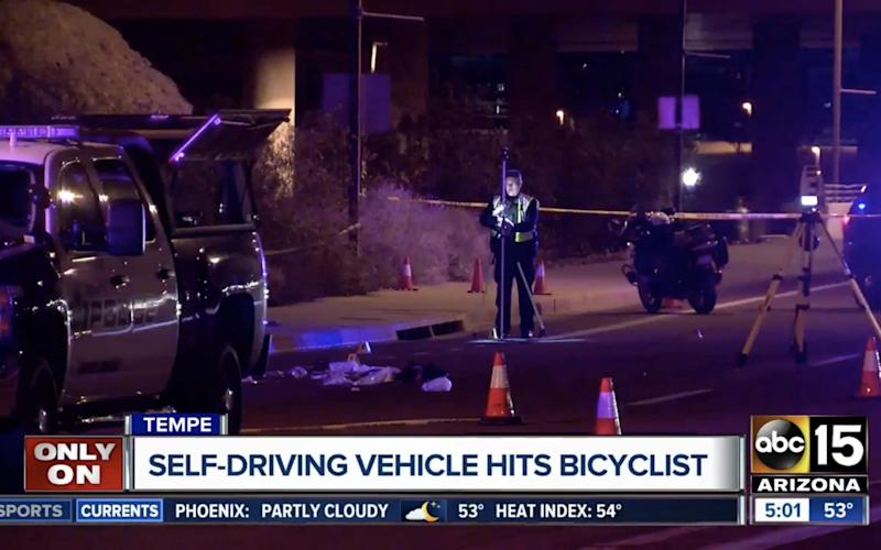 Still from footage showing the scene near Mill Avenue and Curry Road in Tempe, Arizona, where a self-driving Uber car involved in deadly crash - ABC15 Arizona