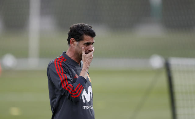 Spain's head coach Fernando Hierro gestures during a training session of Spain at the 2018 soccer World Cup in Krasnodar, Russia, Friday, June 22, 2018. (AP Photo/Manu Fernandez)