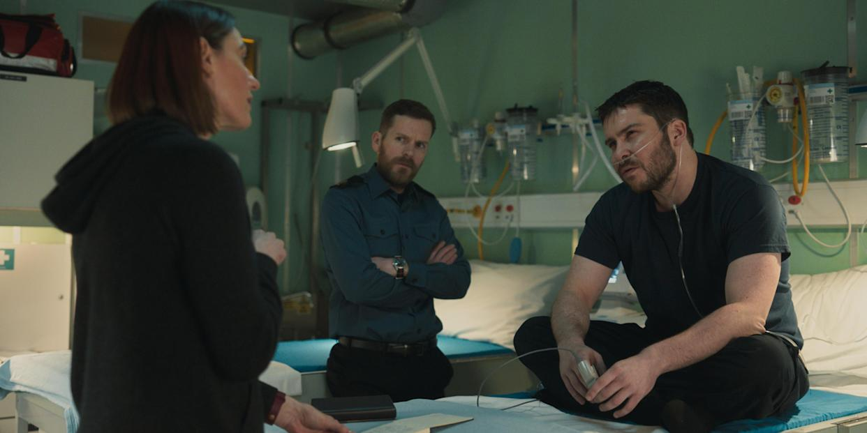 WARNING: Embargoed for publication until 00:00:01 on 24/08/2021 - Programme Name: Vigil - TX: n/a - Episode: n/a (No. 2) - Picture Shows:  Amy Silva (SURANNE JONES), Glover (SHAUN EVANS), Gary Walsh (DANIEL PORTMAN) - (C) World Productions - Photographer: screengrab