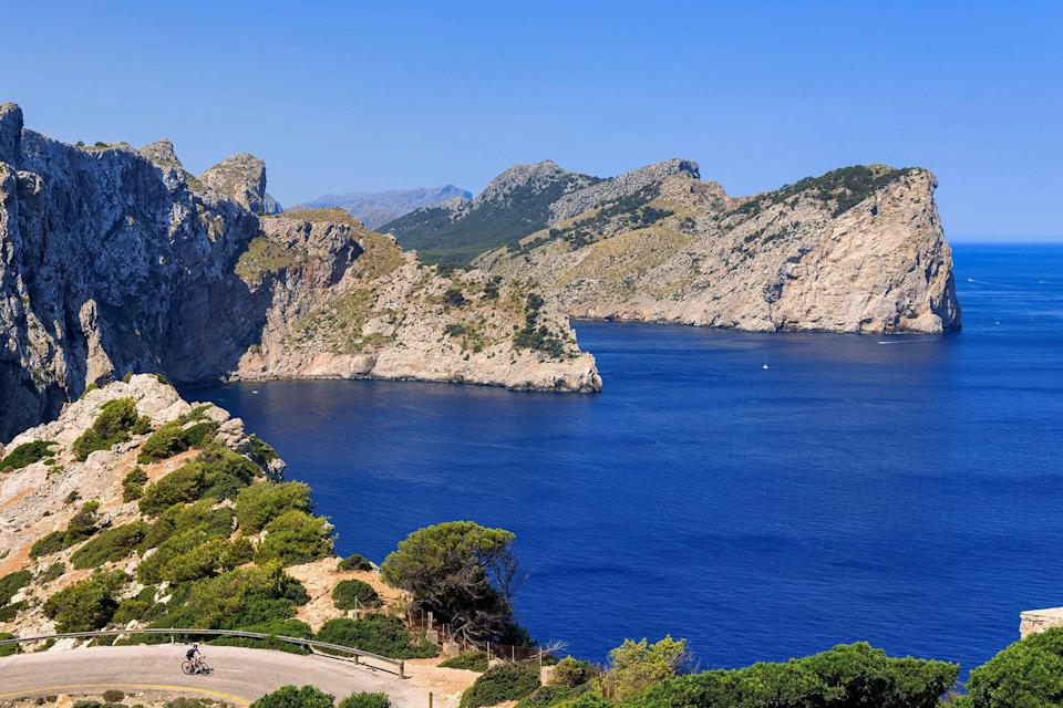 The Punta d'en Tomas bay is seen from Formentor Cape on July 23, 2021 in Mallorca, Spain.
