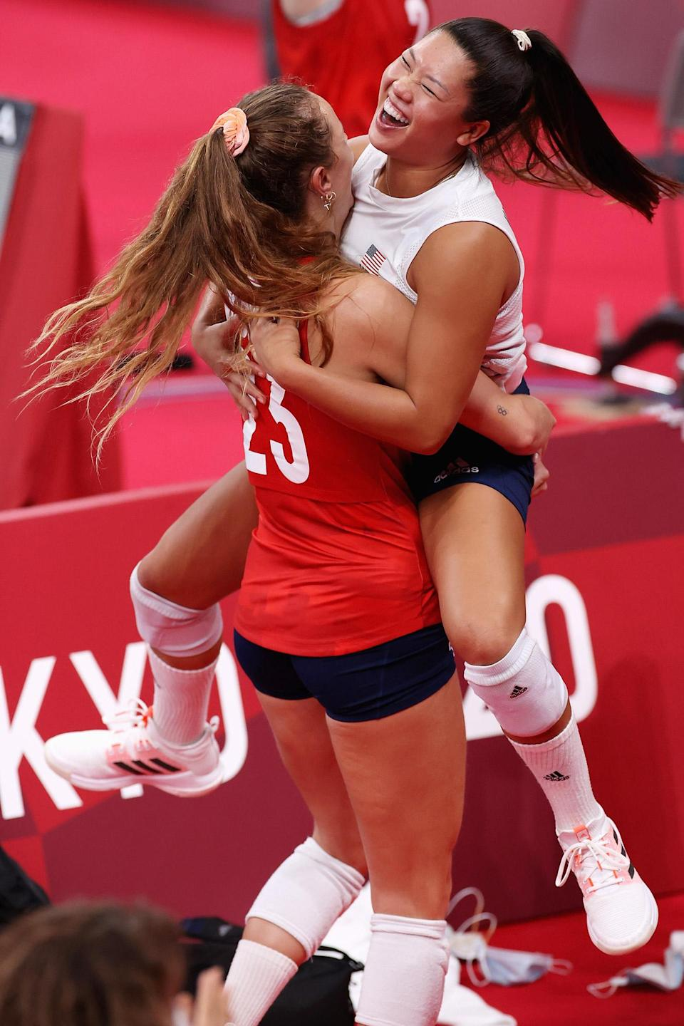 <p>Kelsey Robinson and Justine Wong-Orantes react after Team USA wins their first gold medal in Women's Volleyball. </p>