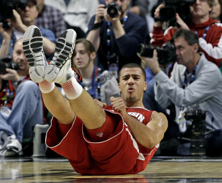 Wisconsin's Traevon Jackson reacts after being called for a foul during the first half of an NCAA college basketball game against Indiana at the Big Ten tournament Saturday, March 16, 2013, in Chicago. (AP Photo/Nam Y. Huh)