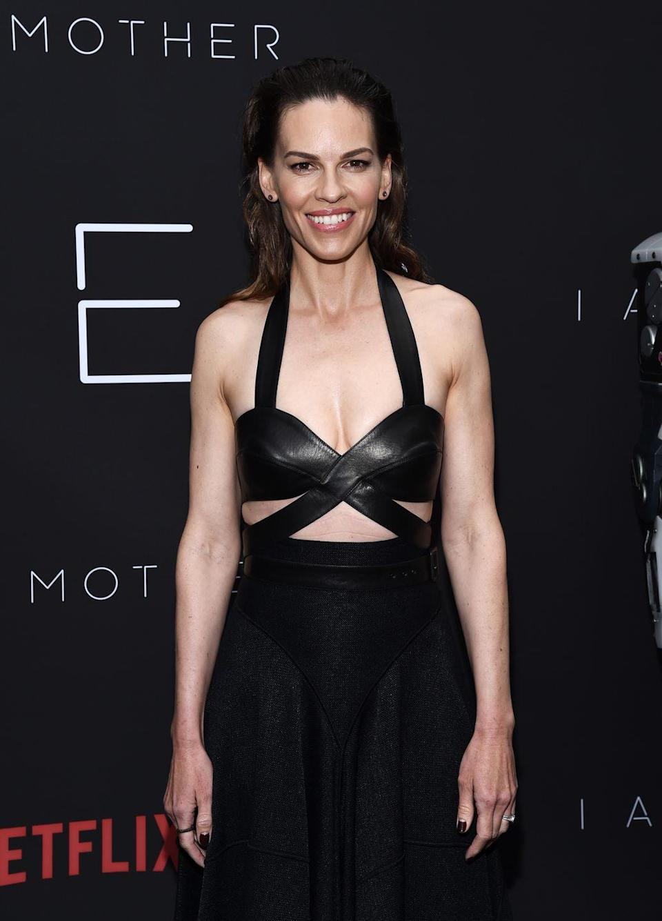 "<p>The <em>Million Dollar Baby </em>star has a very healthy relationship with exercise. The 45-year-old actress sets realistic goals and takes some days off, but she also ventures outside of her comfort zone, according to <em><a href=""https://www.womenshealth.com.au/hilary-swank-strength-workout-instagram"" rel=""nofollow noopener"" target=""_blank"" data-ylk=""slk:Women's Health Australia"" class=""link rapid-noclick-resp"">Women's Health Australia</a></em>. </p>"