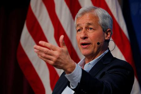 Jamie Dimon, CEO of JPMorgan Chase, speaks about investing in Detroit during a panel discussion at the Kennedy School of Government at Harvard University in Cambridge, Massachusetts, U.S., April 11, 2018.   REUTERS/Brian Snyder