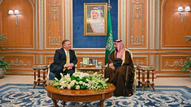 PHOTO: Secretary of State Mike Pompeo meets with Saudi Crown Price Mohammed bin Salman at the Royal Court in Riyadh, Saudi Arabia, Jan. 14, 2019. (Pool via AFP/Getty Images, FILE)