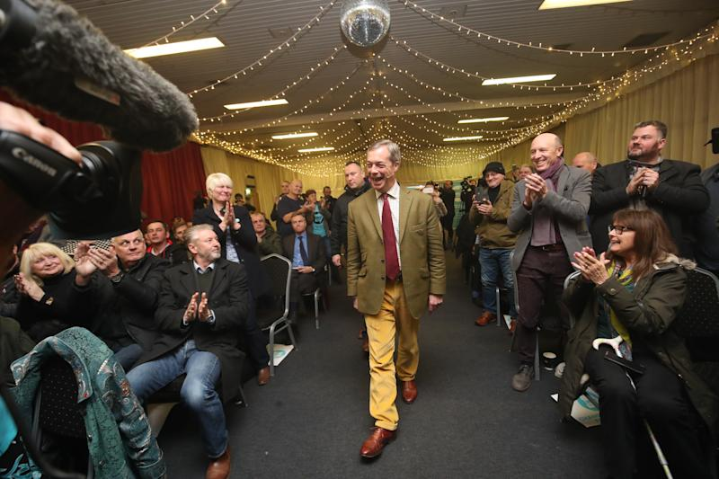 Brexit Party leader Nigel Farage arrives to address supporters at Ionians RUFC in Hull during General Election campaigning. (PA Images)