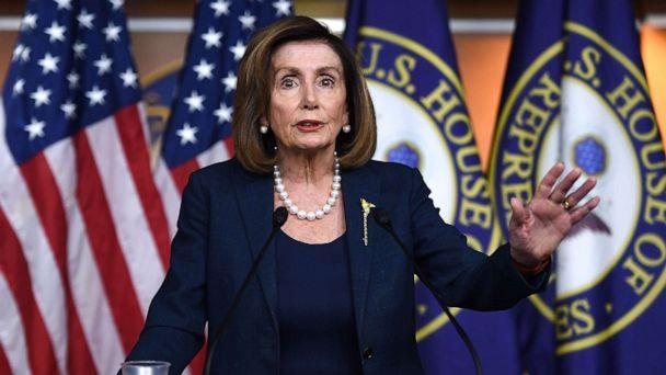 PHOTO: Speaker of the House Nancy Pelosi speaks during her weekly press briefing on Capitol Hill, Jan. 16, 2020. (Olivier Douliery/AFP/Getty Images)