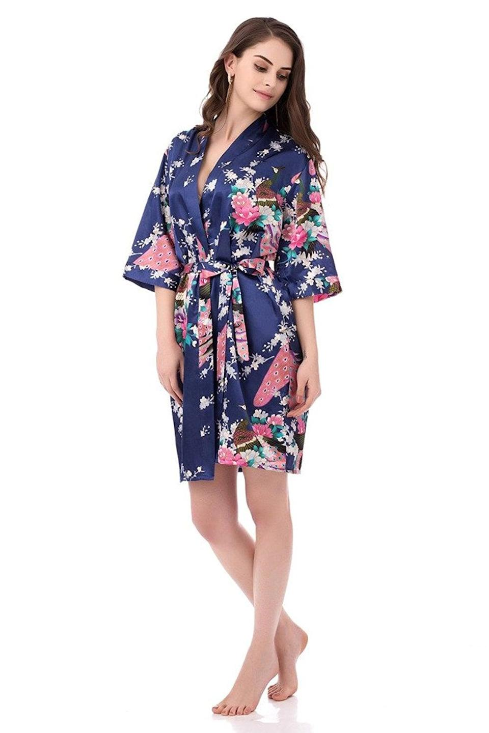 <p>She'll love relaxing in this <span> Peacock Kimono Robe </span> ($17).</p>