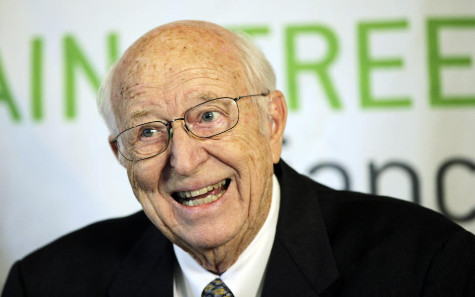 FILE - In this April 21, 2010 file photo, Bill Gates Sr. talks to reporters in Seattle. Gates, a lawyer and philanthropist and father of Microsoft co-founder Bill Gates, died Monday, Sept. 14, 2020, at age 94. (AP Photo/Ted S. Warren,File)
