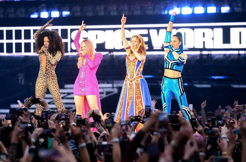 Mel B, Emma Bunton, Geri Halliwell and Melanie C of The Spice Girls perform at Croke Park