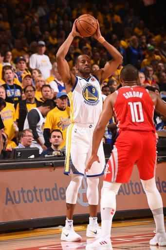 OAKLAND, CA - MAY 20: Andre Iguodala #9 of the Golden State Warriors looks to pass the ball against the Houston Rockets in Game Three of the Western Conference Finals of the 2018 NBA Playoffs on May 20, 2018 at ORACLE Arena in Oakland, California. (Photo by Noah Graham/NBAE via Getty Images)