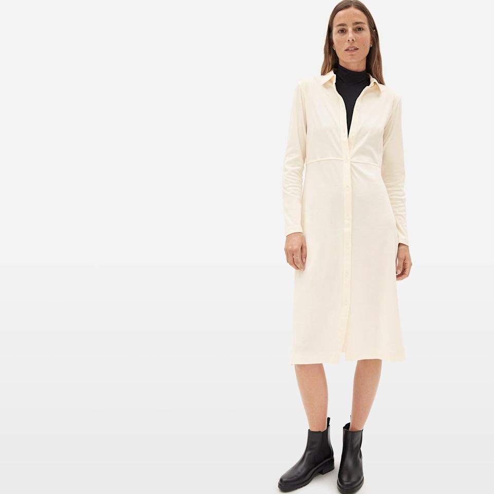 """<p><strong>everlane</strong></p><p>everlane.com</p><p><a href=""""https://go.redirectingat.com?id=74968X1596630&url=https%3A%2F%2Fwww.everlane.com%2Fproducts%2Fwomens-luxe-cotton-shirtdress-canvas&sref=https%3A%2F%2Fwww.womenshealthmag.com%2Fstyle%2Fg35904128%2Feverlane-spring-sale-restock-2021%2F"""" rel=""""nofollow noopener"""" target=""""_blank"""" data-ylk=""""slk:Shop Now"""" class=""""link rapid-noclick-resp"""">Shop Now</a></p><p><strong><del>$75 </del>$30 (60% off)</strong></p><p>Think of this cotton shirtdress as the lighthearted version of the LBD you'll always look and feel amazing in and can style dozens of ways for a totally new look every time.</p>"""