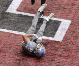 Detroit Lions tight end T.J. Hockenson makes the game-winning touchdown catch to beat the Falcons 23-22 with the extra point as time expires in an NFL football game on Sunday, Oct 25, 2020, in Atlanta. (Curtis Compton/Atlanta Journal-Constitution via AP)