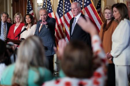FILE PHOTO - U.S. House Speaker Pelosi and Senate Minority Leader Schumer lead a news conference to demand that the U.S. Senate vote on gun background check legislation at the U.S. Capitol in Washington