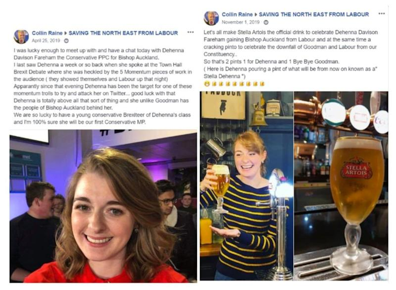 <strong>Images from a Facebook account thought to belong to Colin Raine, the left said to be after a meeting in April (a month after the party said Raine was banned from becoming a member) and right in November</strong> (Photo: Facebook)