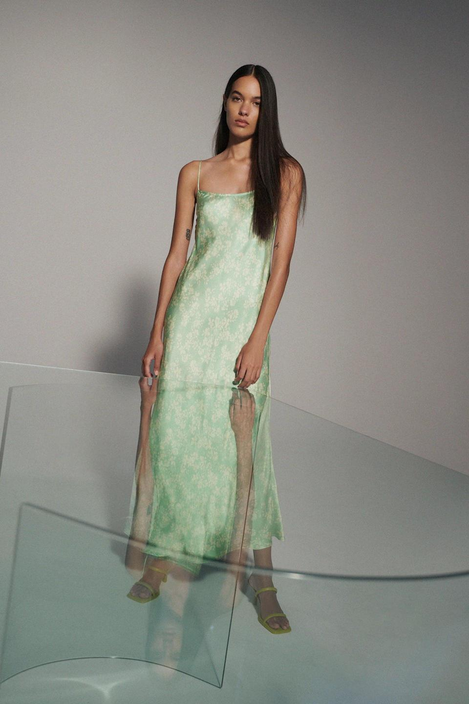 <p>This <span>Zara Floral Satin Dress</span> ($50) has an innate sensuality that will make you feel empowered and sexy. Simply finish off the look with some barely-there sandals and a dainty necklace.</p>