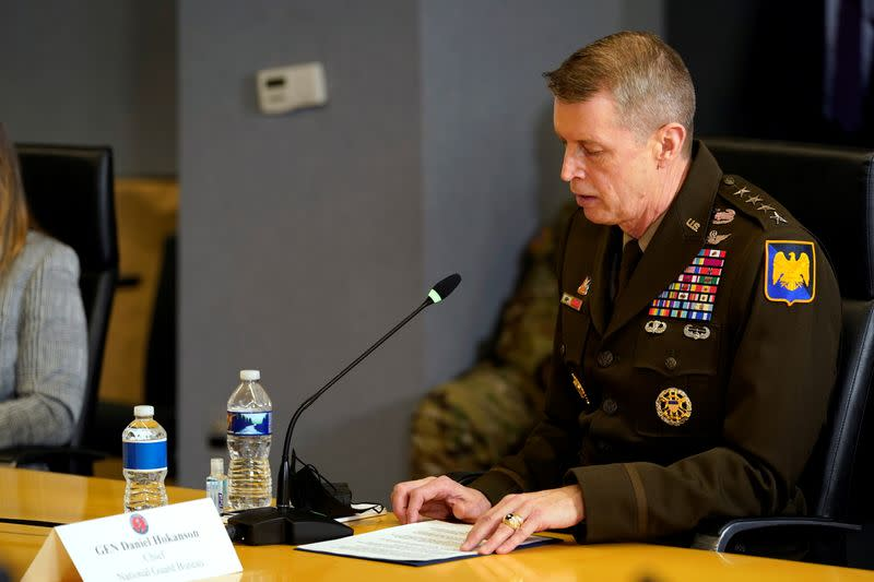 Gen. Daniel Hokanson speaks speaks during a briefing about the upcoming presidential inauguration, in Washington