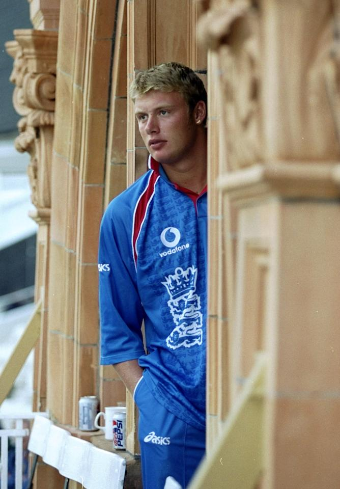 14 May 1999:  Andrew Flintoff of England watches the action during the opening Cricket World Cup Group A match between England and Sri Lanka played at Lords in London, England. England won the game by 8 wickets. \ Mandatory Credit: Adrian Murrell /Allsport