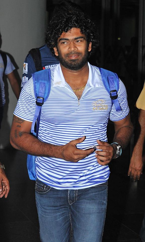 Kolkata: Mumbai Indians player Lasith Malinga arrives at Netaji Subhas Chandra Bose Airport in Kolkata on May 21, 2115. (Photo: IANS)