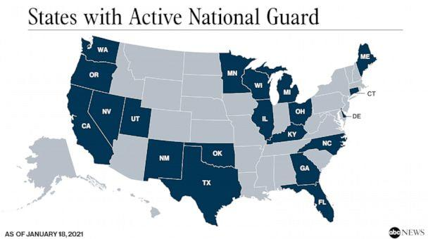 PHOTO: States with Active National Guard (ABC News)