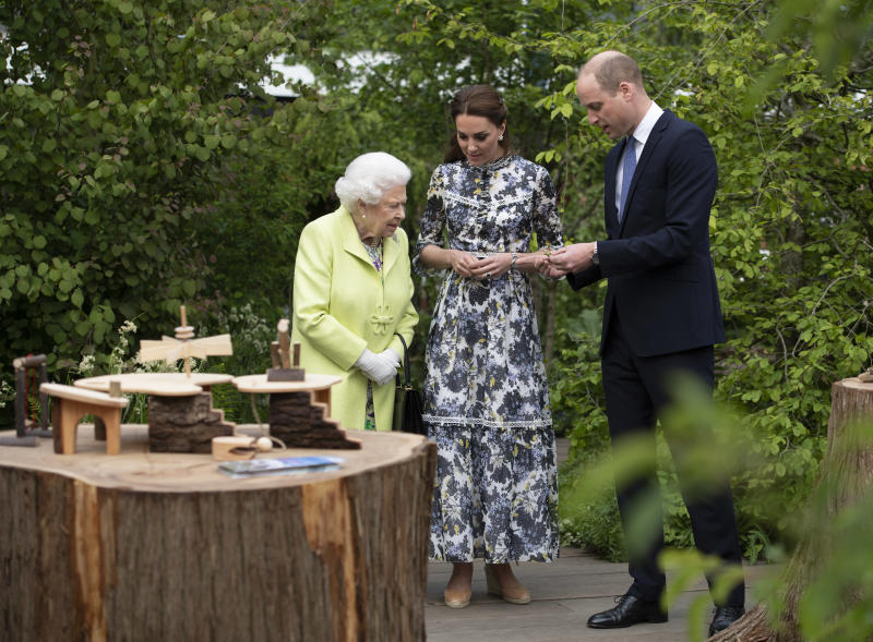 LONDON, ENGLAND - MAY 20: Queen Elizabeth II is shwon around 'Back to Nature' by Prince William and Catherine, Duchess of Cambridge at the RHS Chelsea Flower Show 2019 press day at Chelsea Flower Show on May 20, 2019 in London, England. (Photo by Geoff Pugh - WPA Pool/Getty Images)