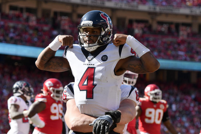 Houston Texans quarterback Deshaun Watson (4) celebrates his touchdown against the Kansas City Chiefs during the second half of an NFL football game in Kansas City, Mo., Sunday, Oct. 13, 2019. (AP Photo/Ed Zurga)
