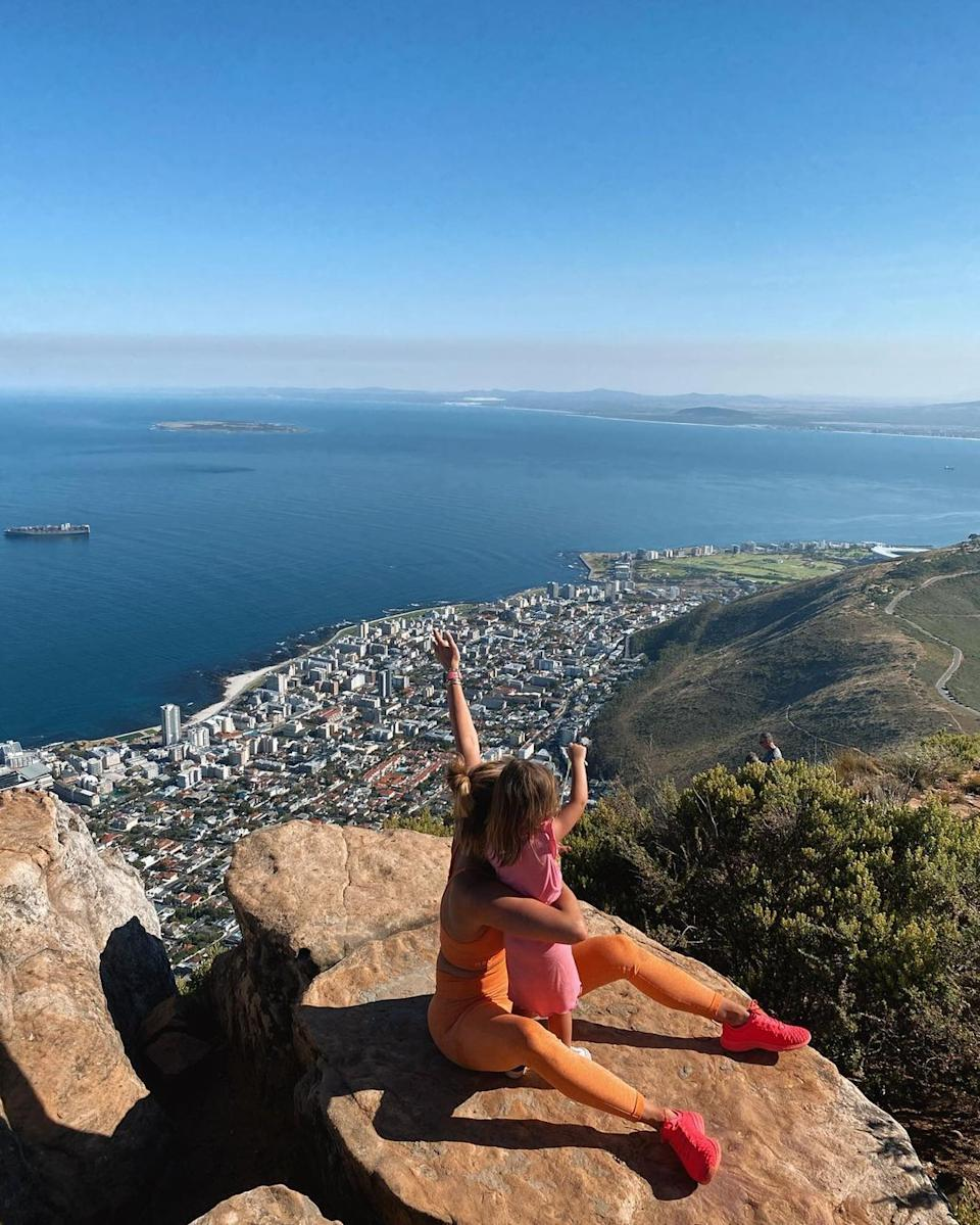 Ferne McCann and her daughter Sunday at the top of Lions mountain in Cape Town