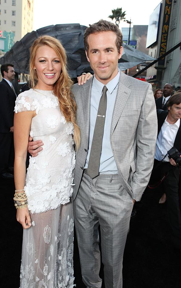 "<a href=""http://movies.yahoo.com/movie/contributor/1808631078"">Blake Lively</a> and <a href=""http://movies.yahoo.com/movie/contributor/1800025139"">Ryan Reynolds</a> at the Los Angeles premiere of <a href=""http://movies.yahoo.com/movie/1810166777/info"">Green Lantern</a> on June 15, 2011."