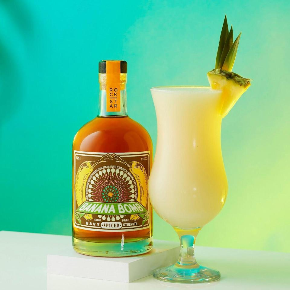 """<p>A pina colada that uses fresh bananas and a banana and salted caramel-infused rum? Yes please!</p><p><strong>Recipe: <a href=""""https://www.goodhousekeeping.com/uk/wine/a36174915/banana-colada-cocktail/"""" rel=""""nofollow noopener"""" target=""""_blank"""" data-ylk=""""slk:Banana colada"""" class=""""link rapid-noclick-resp"""">Banana colada</a></strong></p>"""
