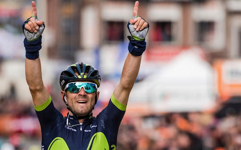 Alejandro Valverde celebrates winning his fourthLiège-Bastogne-Liège title to become the race's second most successful rider after Eddy Merckx who has won it five times - AP