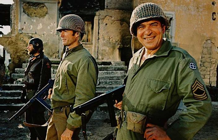 """(L-R) Donald Sutherland, Clint Eastwood, and Telly Savalas in """"Kelly's Heroes."""""""