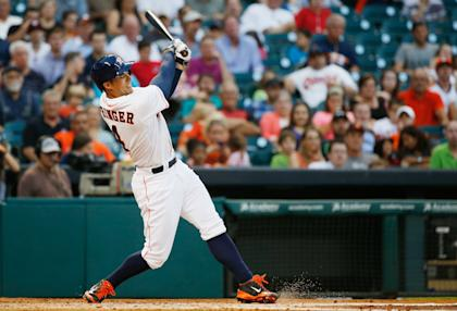 George Springer's.10 home runs are tied for 11th in the American League. (Getty)