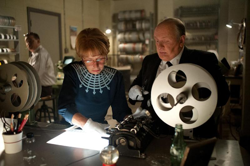 "This film image released by Fox Searchlight shows Helen Mirren as Alma Reville, left, and Anthony Hopkins as Alfred Hitchcock in ""Hitchcock."" (AP Photo/Fox Searchlight, Suzanne Tenner)"