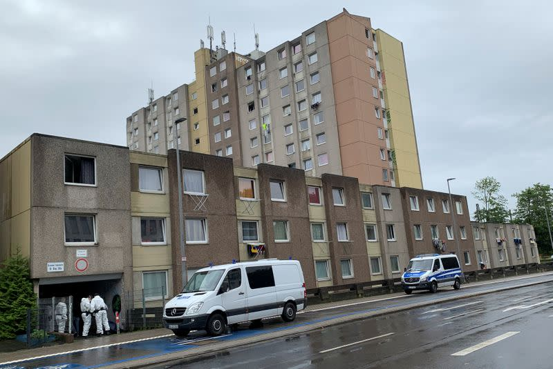 General view of a block of flats that has been quarantined, in Goettingen