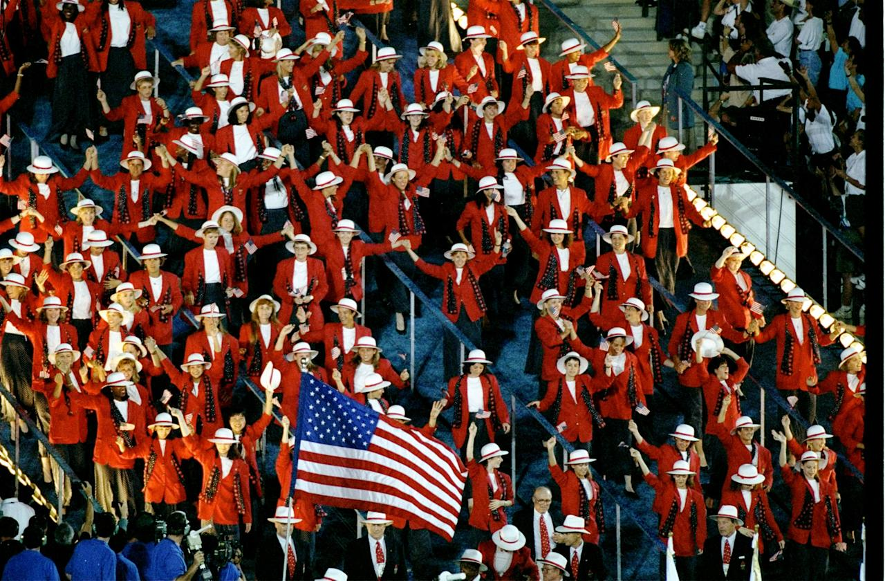 19 Jul 1996:  The team from the USA enter the Olympic Stadium during the Opening Ceremony of the 1996 Olympic Games in Atlanta, Georgia. Mandatory Credit: Simon Bruty  /Allsport