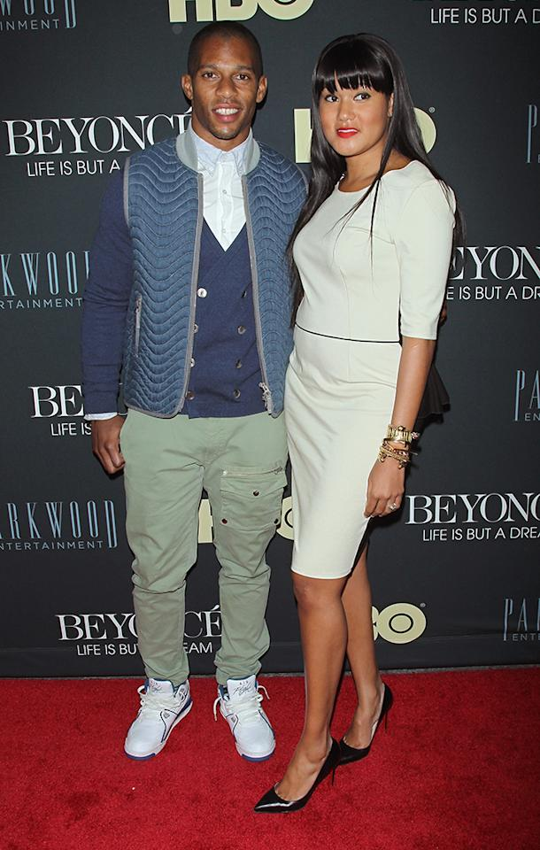 "Victor Cruz and fiance Elaina Watley attend the ""Beyonce: Life Is But A Dream"" New York Premiere at Ziegfeld Theater on February 12, 2013 in New York City."