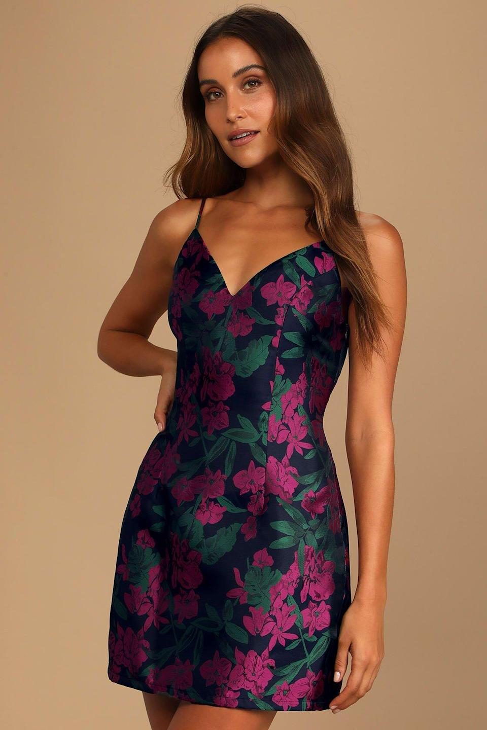 Lulus Absolutely Exquisite Navy Blue Floral Jacquard Mini Dress