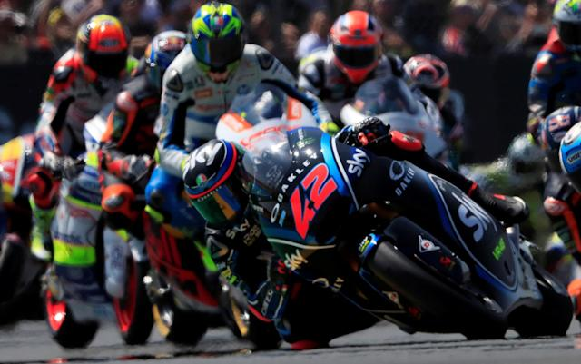 Motorcycling - Moto2 - French Grand Prix - Bugatti Circuit, Le Mans, France - May 20, 2018 SKY Racing Team VR46's Francesco Bagnaia during the race REUTERS/Gonzalo Fuentes TPX IMAGES OF THE DAY
