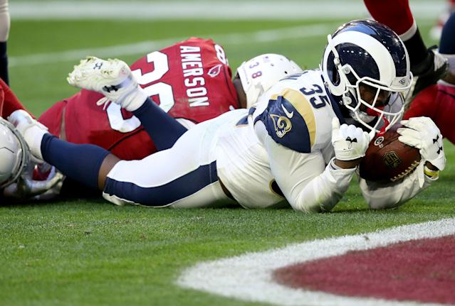 Running back C.J. Anderson (35) should get interest after a strong finish to the 2018 season with the Rams. (AP)