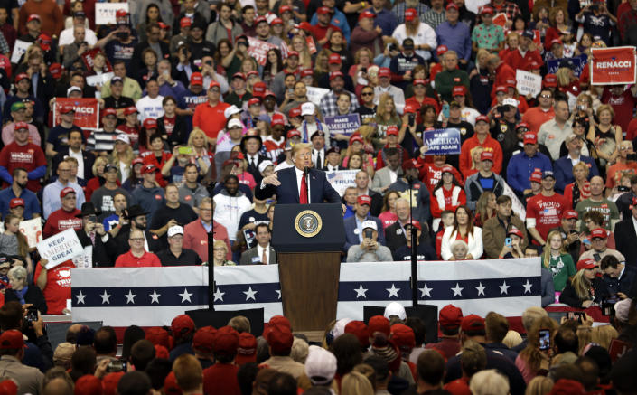 President Donald Trump speaks at a campaign rally, Monday, Nov. 5, 2018, in Cleveland. (AP Photo/Tony Dejak)