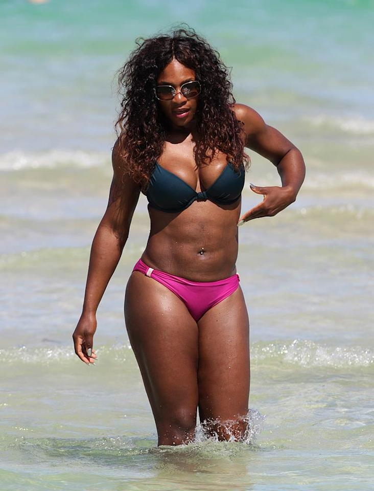 "On the East Coast, the water is a little warmer! Buff tennis star Serena Williams -- whose known for her funky ensembles on the court -- sported a barely-there bikini while in Miami. Think she works out even on holiday? Pichichi/<a href=""http://www.splashnewsonline.com"" target=""new"">Splash News</a> - July 16, 2011"